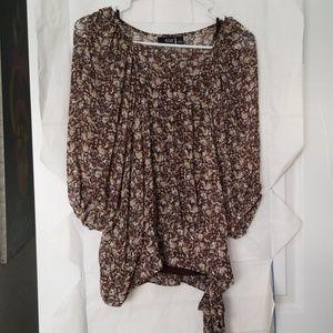 Ana, sz M, sheer blouse, EUC